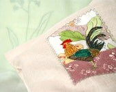 BREAD BAG, Storage Idea, Rooster Applique, Kitchen Decor, Soft Pastel - BozenaWojtaszek