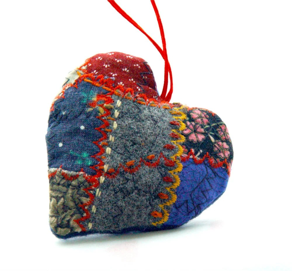 PATCHWORK HEART, Textile Ornament, Hand Embroidery, Personal gift, Red Blue