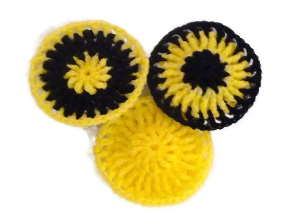 Nylon Pot Scrubbers - Set of 3 -- Yellow and Black - OffTheHookByJen