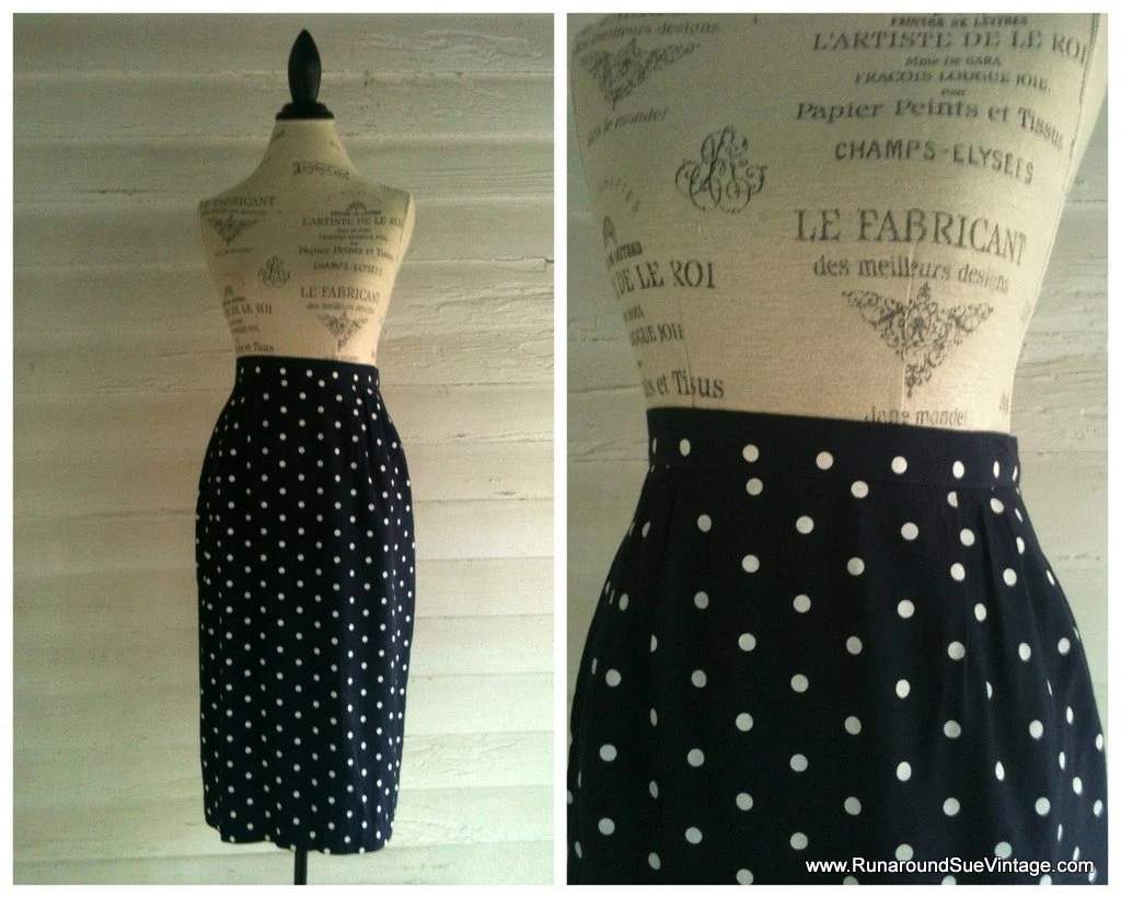Vintage Pencil Skirt - Navy and White POLKA DOT Pencil Skirt by runaroundsuevintage on Etsy