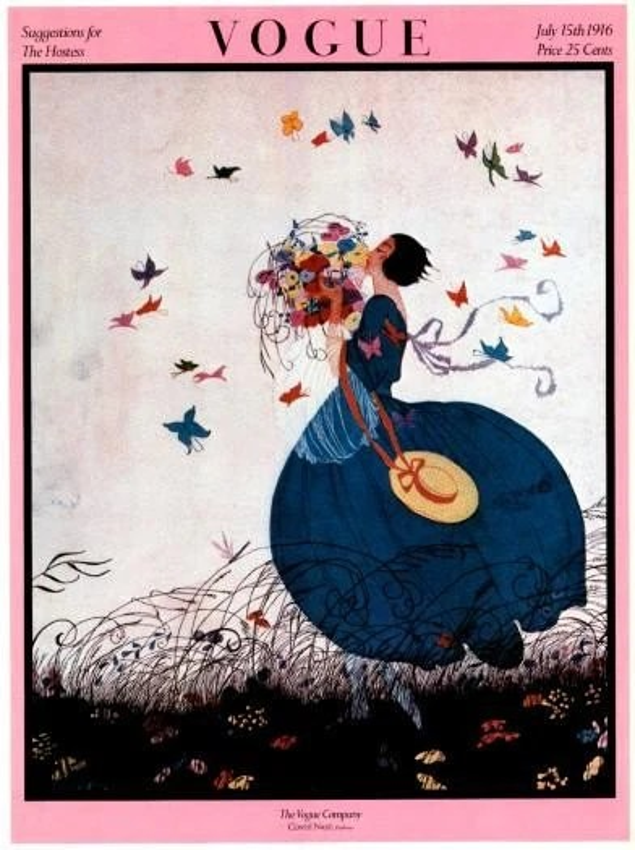 Vintage Vogue Magazine Cover Poster July 15 1916 By Nitashmita