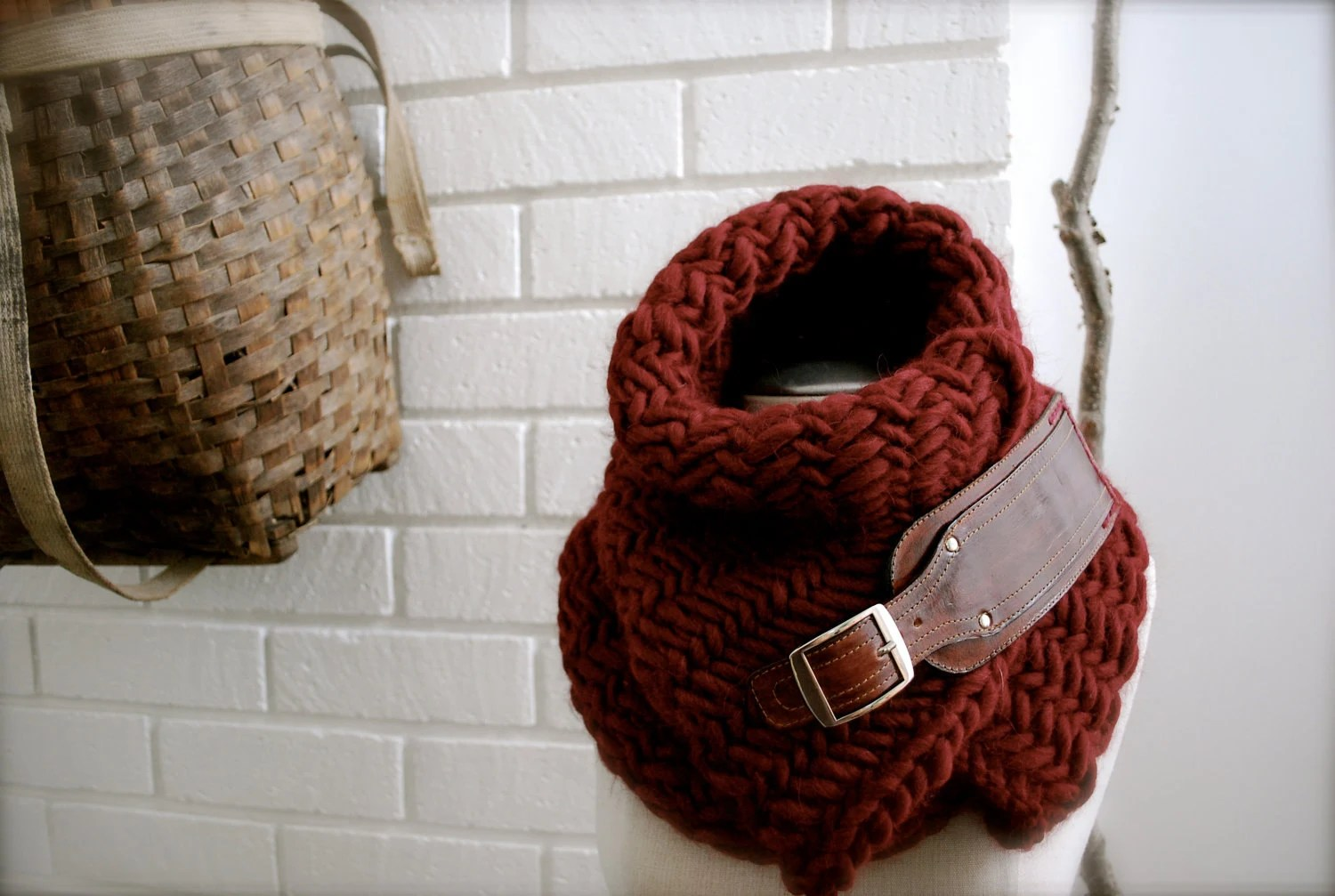 Burgundy herringbone chunky  knit scarf with leather buckle