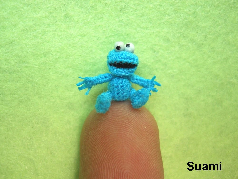Extreme Tiny Cookie Monster - Micro Amigurumi Crochet Character Blue Monsters - Made To Order