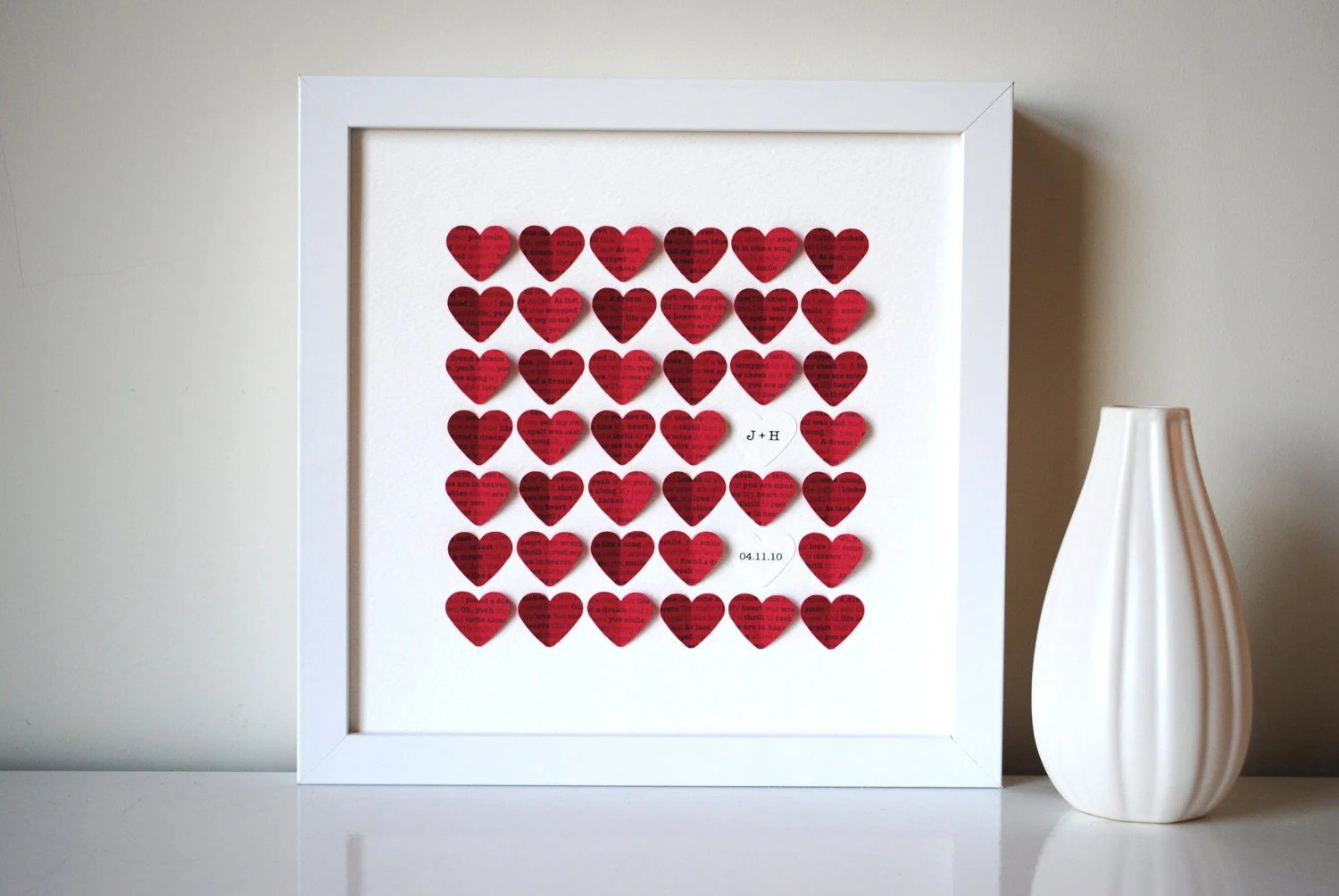 Personalized Wedding Gift 3D Song Hearts Red Made From