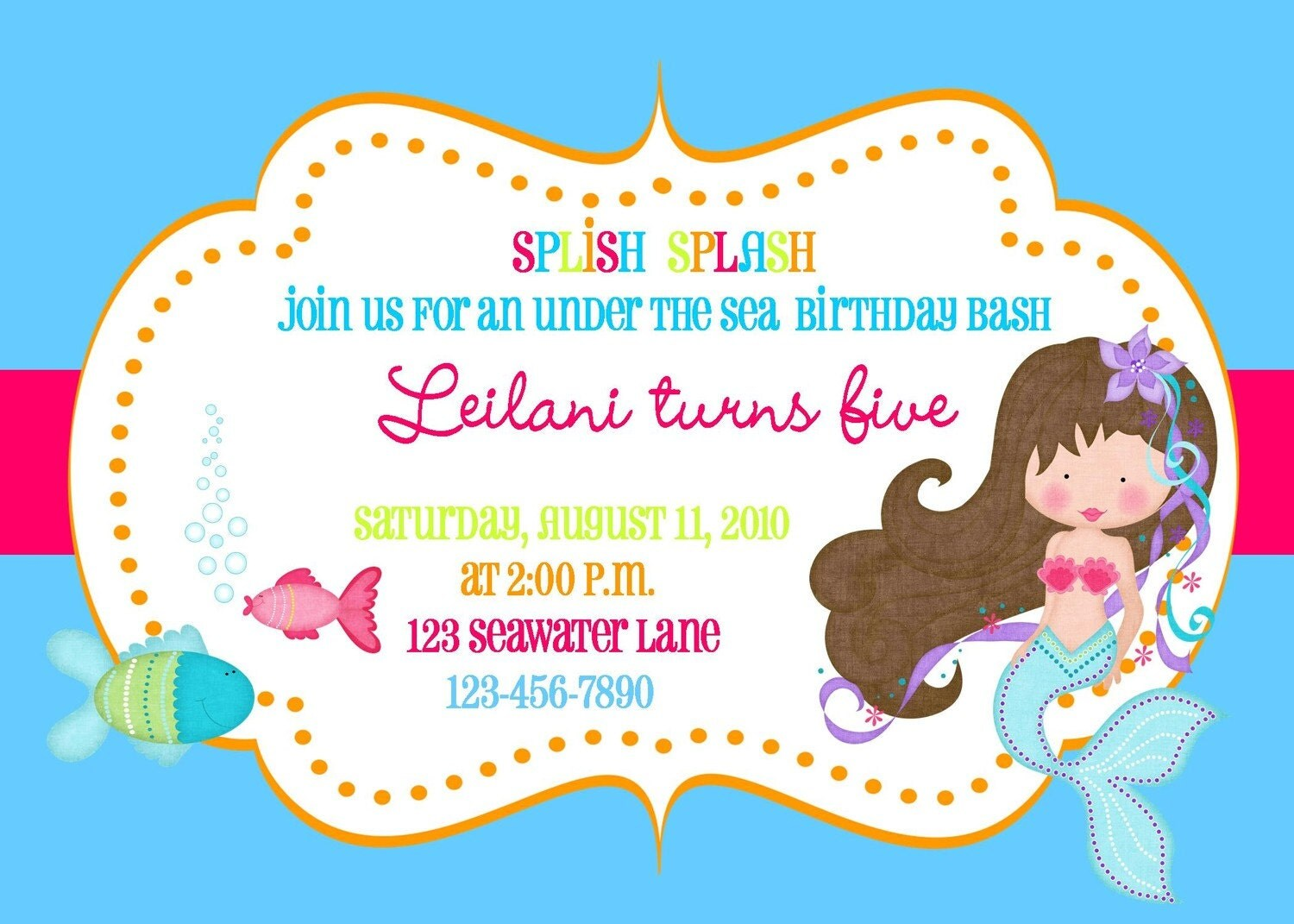Under The Sea Mermaid Invitation Printable File