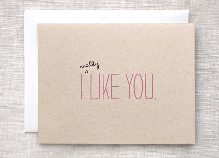 I Like You Card - Cute Valentine Card, Recycled Brown, Pink - Eco Friendly Anniversary Card - HappyDappyBits