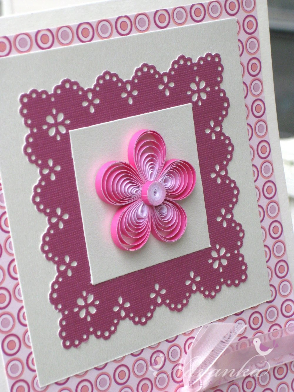 Beautiful Paper Quilling Greeting Card In Shades Of Pink For