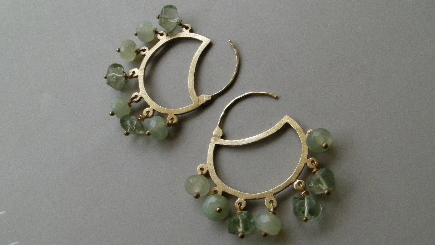 JADE and PRENITE CRESCENTS, Earrings in 18k Solid Gold - GiliForshmit