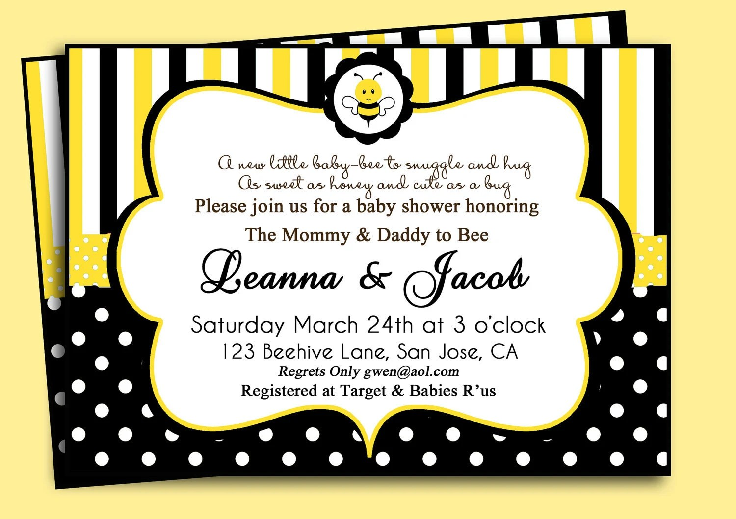 Bumble Bee Birthday Or Baby Shower Invitation By