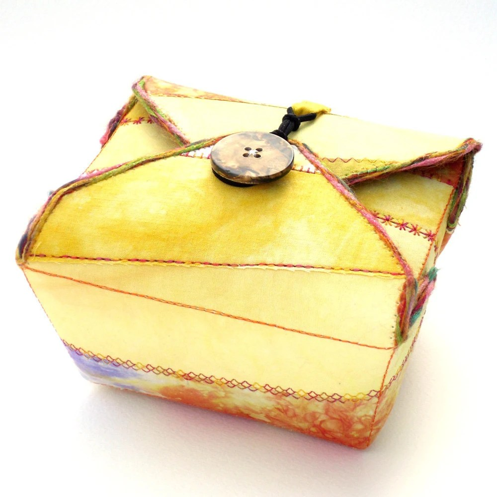 Fabric Box, Yellow Purple, Handmade - PolkadotPossum