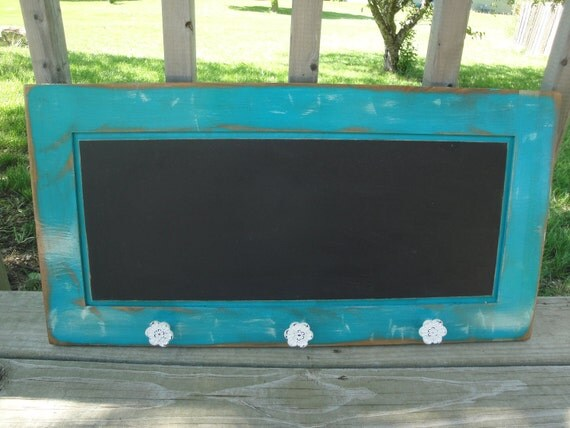 Repurposed Cabinet Door Shabby Chic Teal Chalk Board with white flower knobs