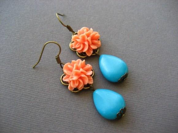 Light Orange Flower Cabochon Earrings with Turquoise Teardrops