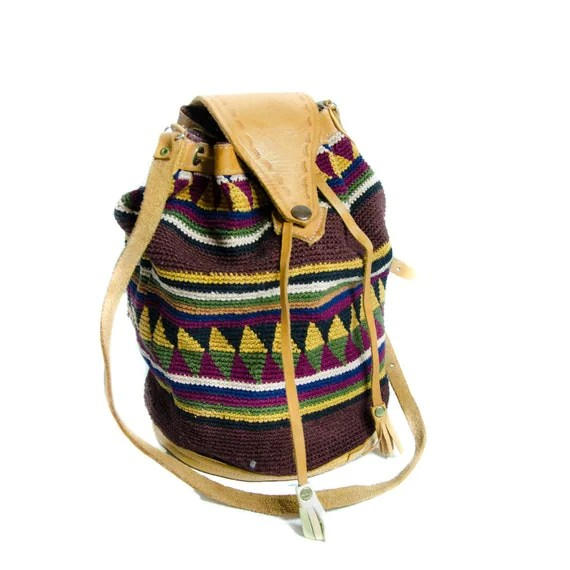 Southwestern Bucket Bag Tooled Leather Aztec Print Fall Fashion Shoulder Bag