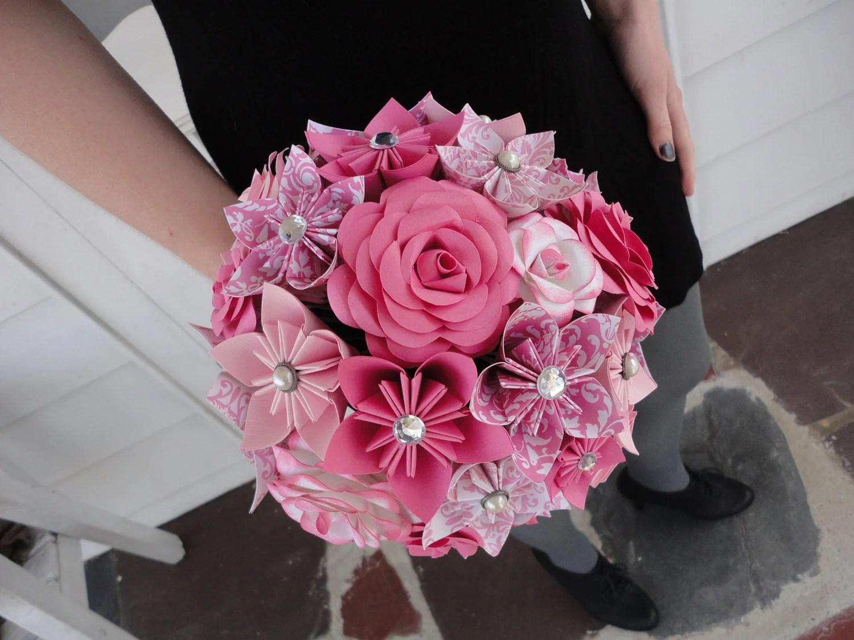 Pink Paper Rose Kusudama Origami Paper Flower Wedding Package