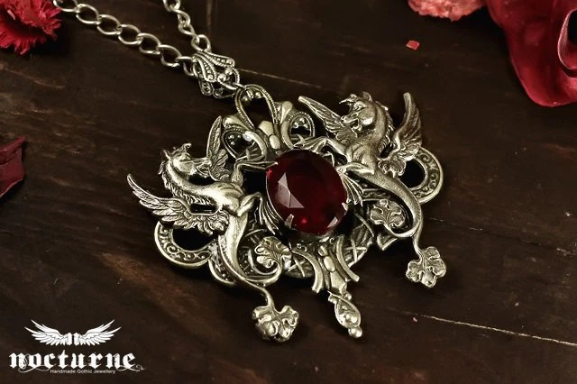 Unisex Gothic Necklace with Ruby Red Gem  - Mythical Beast Winged Sea Horse - Victorian Gothic Steampunk Jewelry