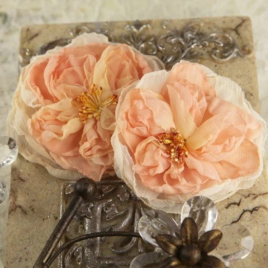 Parfait Collection -  Peche 547202 -  2 pcs Sheer silk fabric flowers with stamen  peach colored - isakayboutique