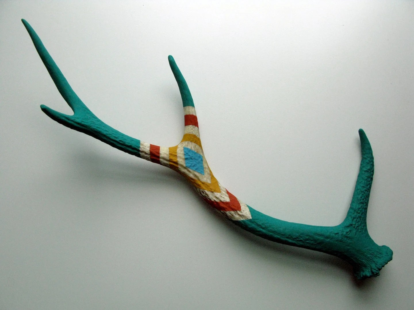 Green, Orange, Yellow and Blue Diamond Patterned Sika Antler