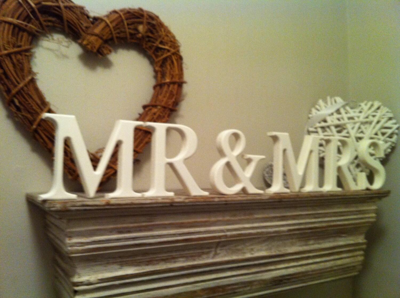 MR & MRS Wooden Wedding Letters 15cm High By LoveLettersMe