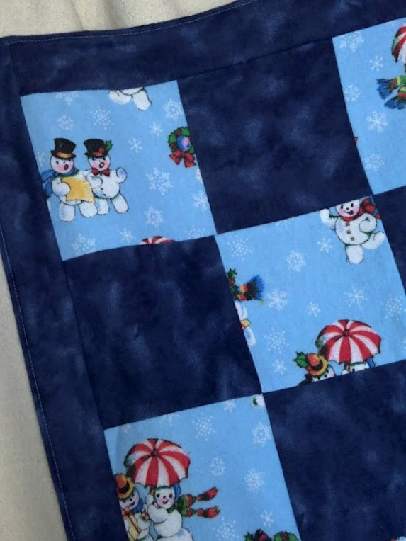 Blue Flannel Patchwork Snowman Blanket