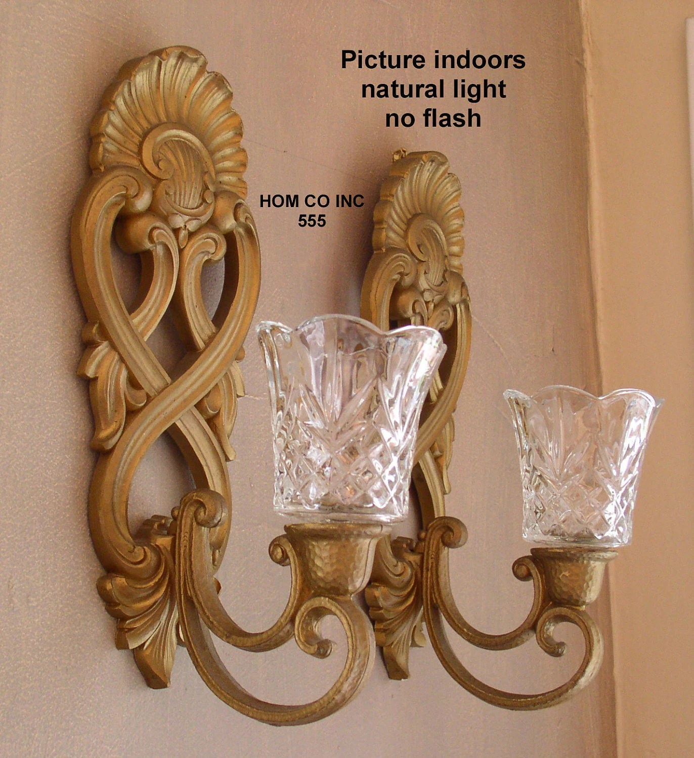 Vintage Scroll Wall Sconce Candle Holder with Glass Inserts on Wall Sconces Candle Holders id=60515