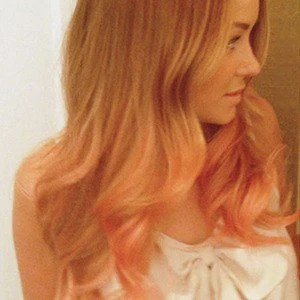 Items Similar To Peach Pink Dip Dyed Ombre Hair