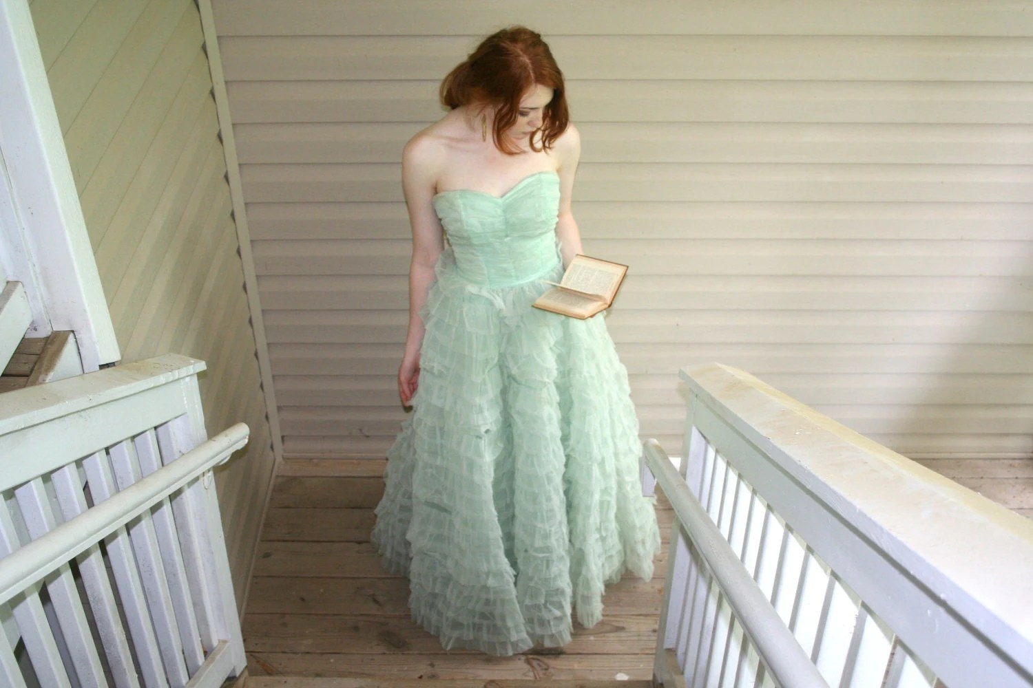 1950's Pastel Green Princess Prom Dress
