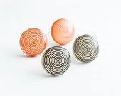 Spiral geometric jewelry - Stud earrings set - Black and orange stud earrings, jewlry set - Lepun
