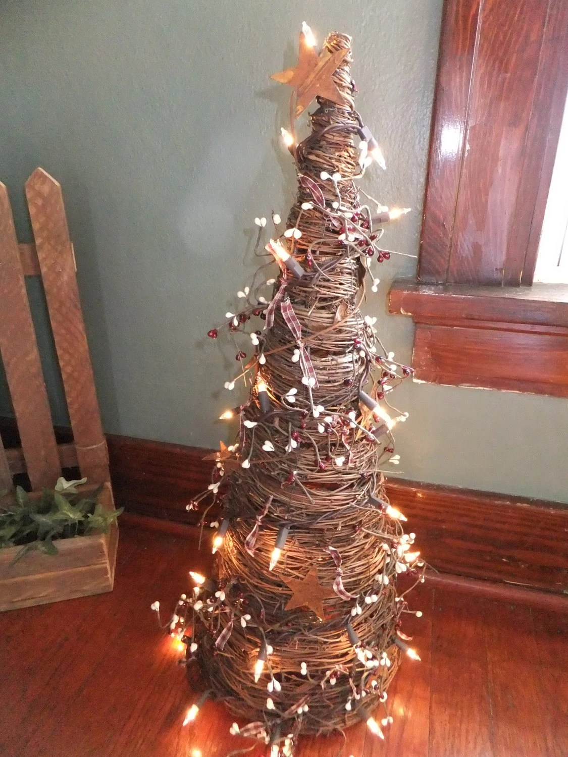 Decorated Grapevine Tree with Burgundy and Cream Berries on Vine Decor Ideas  id=45775