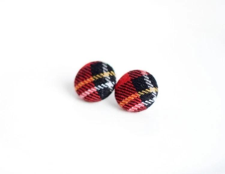 Buttons Earrings, Fabric Buttons Earrings, Stud Earrings, Wool Plaid Fabric - Red, Black Color - JoannaBizu