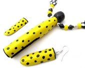 Yellow & Black Polka Dots Beaded Clothespin Necklace/Earrings Set, Handmade OOAK Jewelry - ClothespinsShowPins