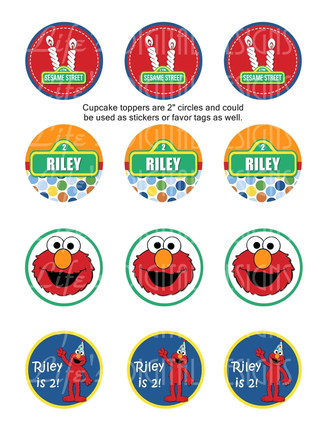 Elmo Cupcake Toppers 2 Birthday Favor Tags Stickers