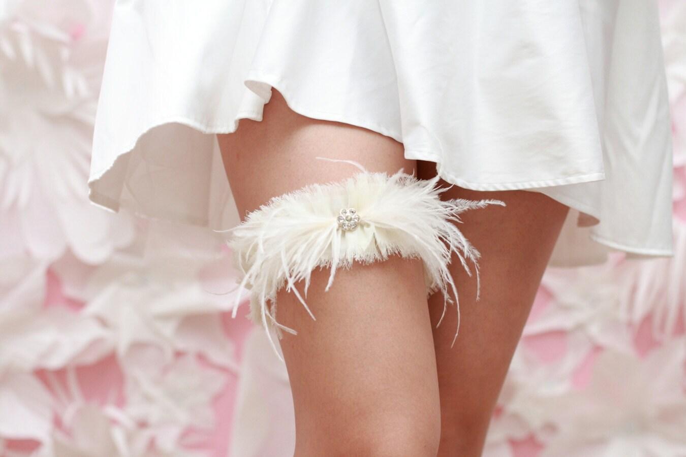 Wedding Garter Soft Ivory Chiffon Hand Frayed Ostrich