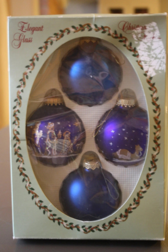 Krebs Glass Christmas Tree Ornaments Three Wise Men Purple