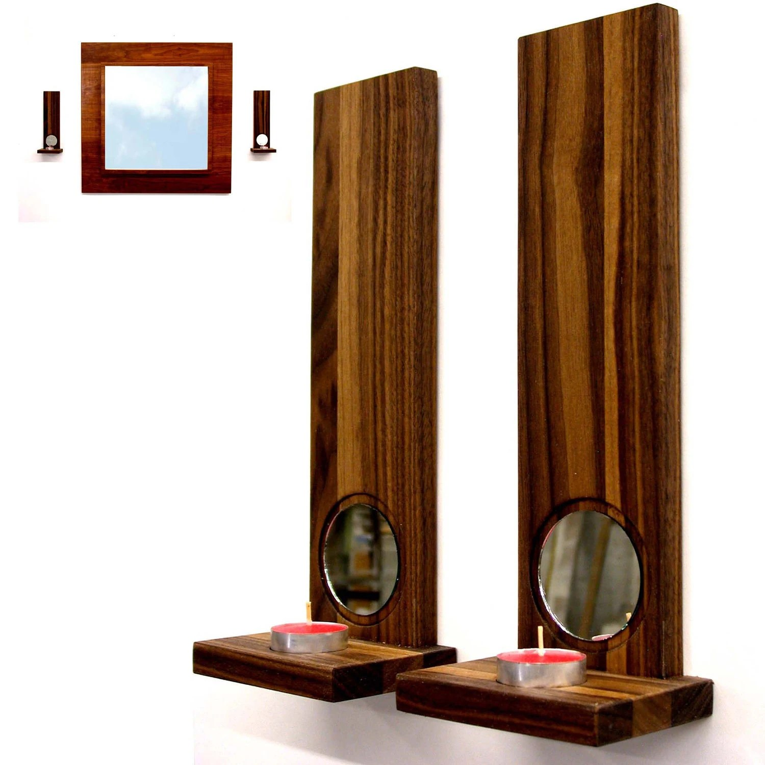 Modern wall sconces candle holders home decor Walnut duo on Wall Sconces Candle Holders id=63074