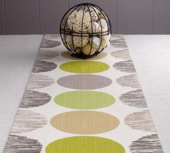 """White Table Runner - Green Color, Lime, off-White Color,  Modern Table Runner 108 inch 108"""" long"""