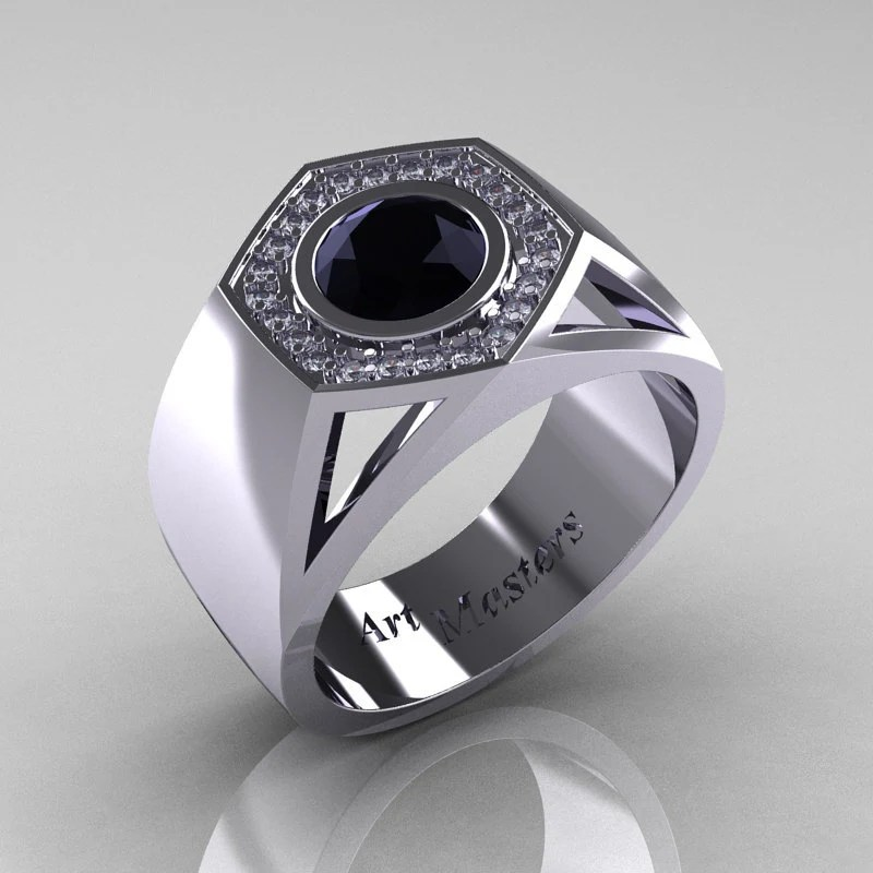 Gentlemens Modern 950 Platinum 1.0 Carat Black Diamond Celebrity Engagement Ring MR161-PLATDBD - artmasters