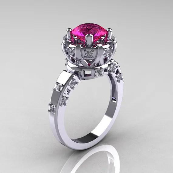 Modern Antique 14K White Gold 1.5 Carat Pink Sapphire Diamond Classic Armenian Solitaire Wedding Ring AR107-14KWGDPS