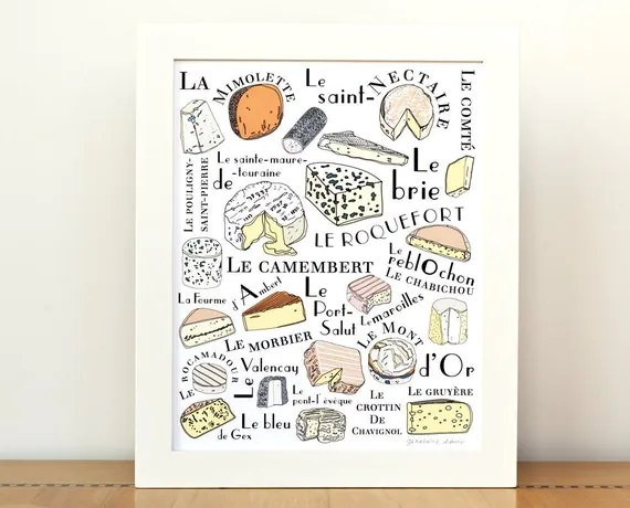 Kitchen Art French Cheeses home decor - Art Print 8x10 Typographic print Gourmet cheese lover food illustration