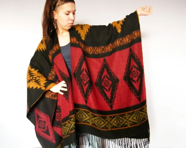 Southwestern Vintage Blanket Poncho Shawl 70s Ethnic NativeTribal Aztec Woven Pattern Fringe Bat Wing Cape Coat - XZOUIX