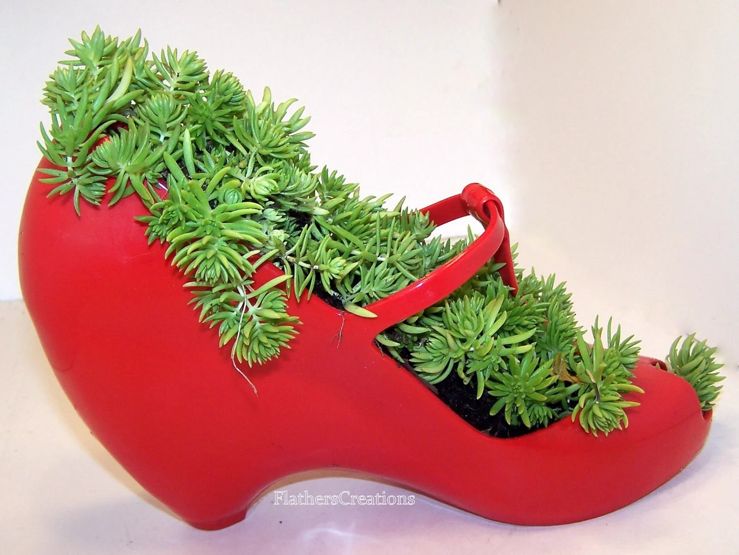 DIY planter Succulent Plant in Red  Rubber Shoe Planter FEATURED Etsy top 15