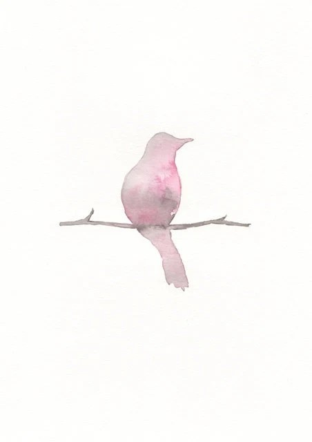 Serenity Pink Bird/Shabby Chic/ Minimal/Archival Watercolor Print - kellybermudez