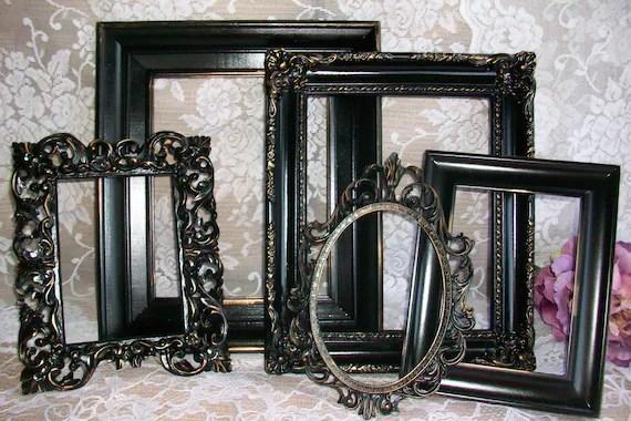 RESERVED Shabby Chic Frames Black Picture Frames Set Ornate