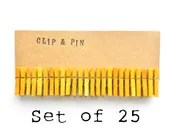 Mini Clothespins - Canary / Yellow - Small - Set of 25 - Free Shipping - ClipAndPin