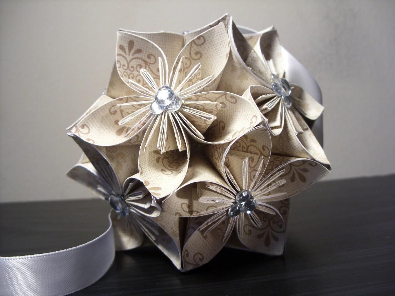 Wedding W/ Rhinestones Kusudama Origami Paper Flower Ball
