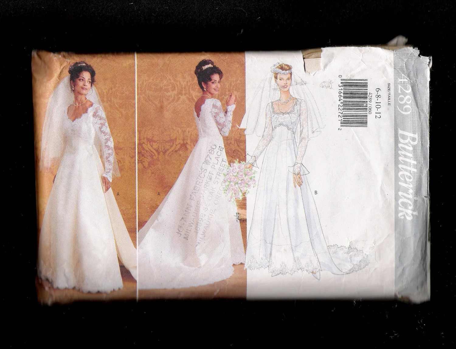 Butterick Pattern 4289 Classic Wedding Dress With Detachable