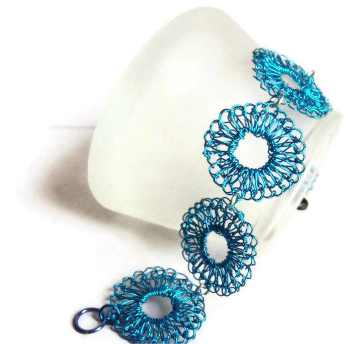 Hand Crochet Wire Ocean Blue Bracelet by PrayerMonkey - PrayerMonkey