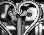 Heart Photo Print - Valentine's Day Gift - Black and White - Silver Gray - Metal - Abstract  Love - Fine Art Photography 8x10 - ZoeWithLove