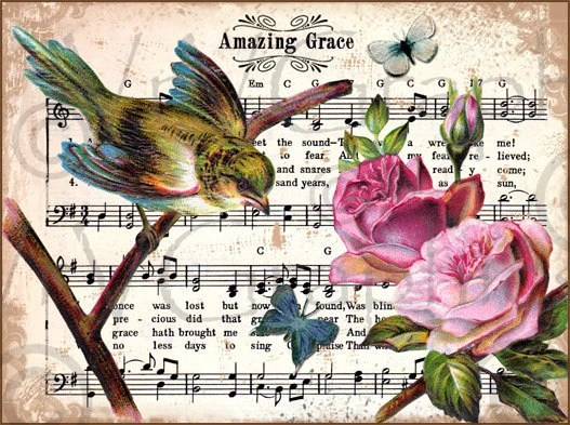 Items Similar To Amazing Grace Bird Roses Christian Hymn