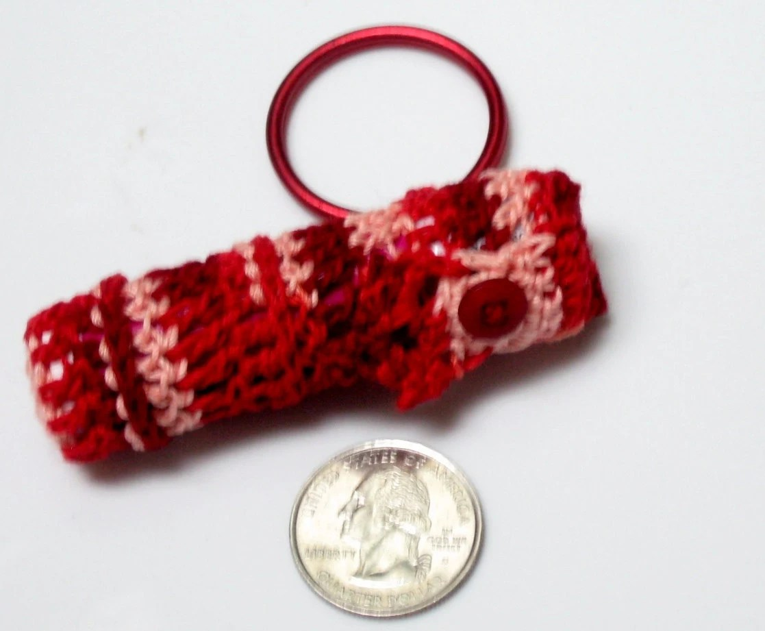 Lip Balm Case Keychain Crocheted Deep Red Variegated Cotton w/button closure - BittyBitsandBaubles