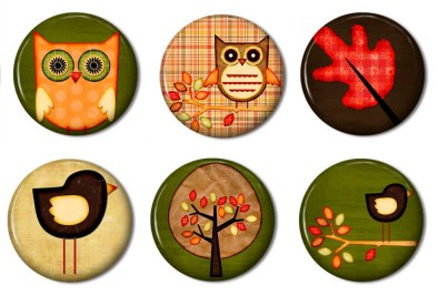 Fridge Magnets Set of 6 - Feels Like Fall, Owl, Tree, Bird - Button Style Magnet,  party favors, prizes, gifts,  fridge magnet, button
